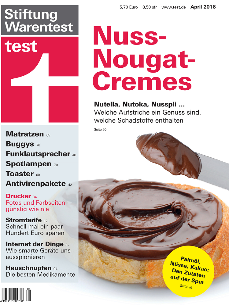 Stiftung Warentest: a comparative study of Germany's most prestigious consumer association on hazelnut creams